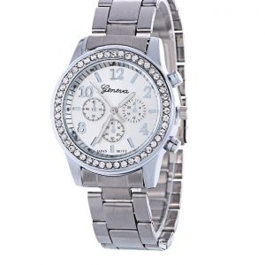 Geneva Female Watch Chronograph Stainless Steel Quartz With Box