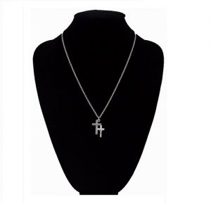 Silver Twin Cross Jesus Piece Chain Vintage Necklace