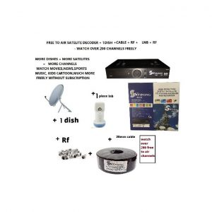 Strong Max Free To Air Satelite Decoder With 1 60cm Dish Lnb Cable Rf complete kit
