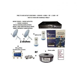 Strong Max Free To Air Satelite Decoder complete kit with 2x60cm Dishes Lnb Cable Rf Diseq