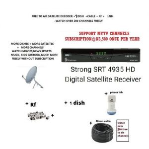 Strong SRT 4935 Decoder Free To Air MYTV support with 1 dish