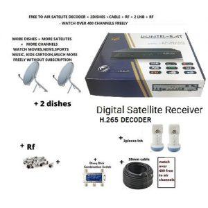 free to air satellite tv decoder H.265 IPTV Iks HDTV receiver with 2 dish